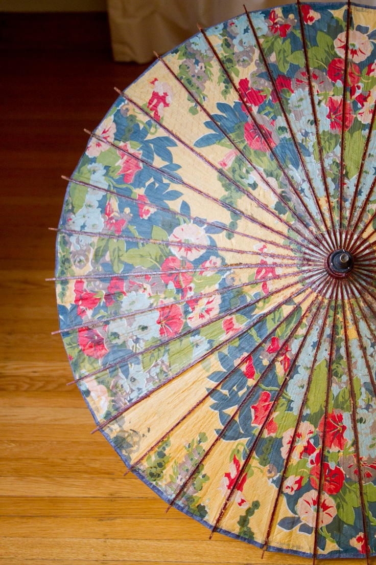 1920's Bright Floral Japanese Paper Parasol