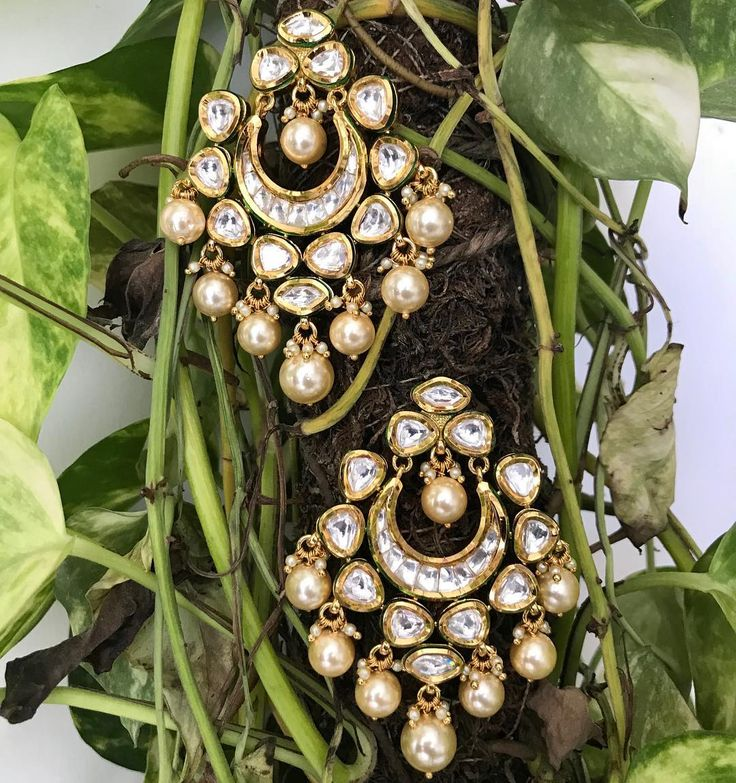 Kundan Chandbali with Pearl Drops