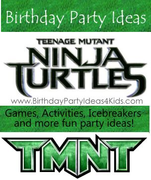 Teenage Mutant Ninja Turtles Party Ideas Great games, activities, icebreakers, ideas for decorations, party food, party favors, goody bags and more! So much to choose from - easy to pick and choose to make the perfect TMNT party! http://www.birthdaypartyideas4kids.com/teenage-mutant-ninja-turtles-party.htm