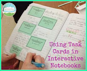 Task Cards in Interactive Notebooks--> Great for math centers or cooperative work