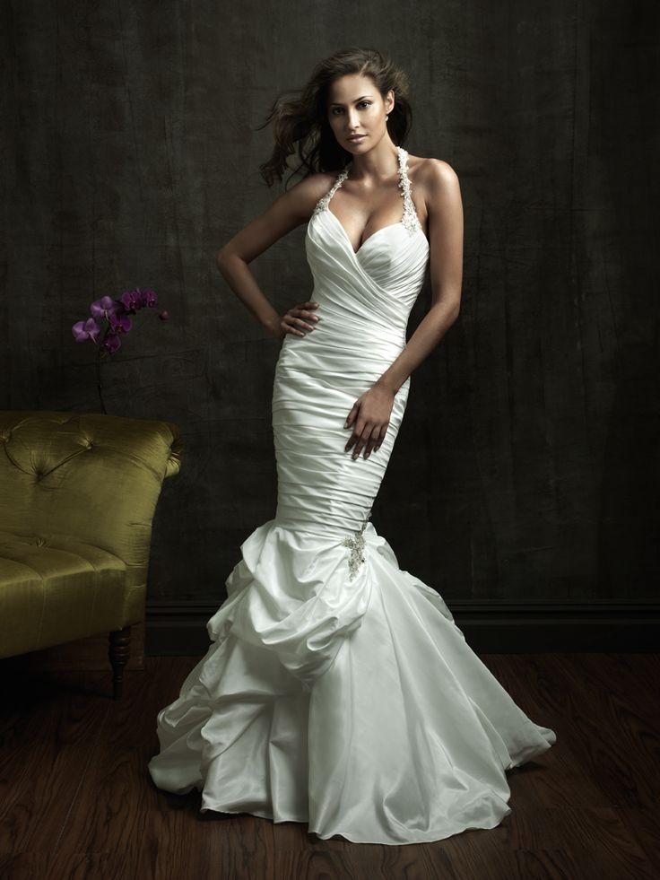 Sexy mermaid wedding dresses halter beads working for Taffeta mermaid wedding dress