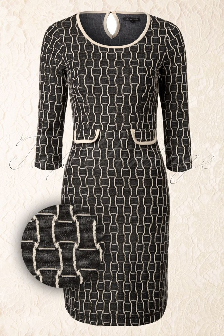 King Louie - 50s Tulip Infinity Dress in Black and Cream