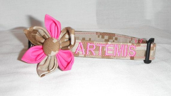 Military Pink Embroidered  Dog Collar by chiwawagearharnesses, $20.00
