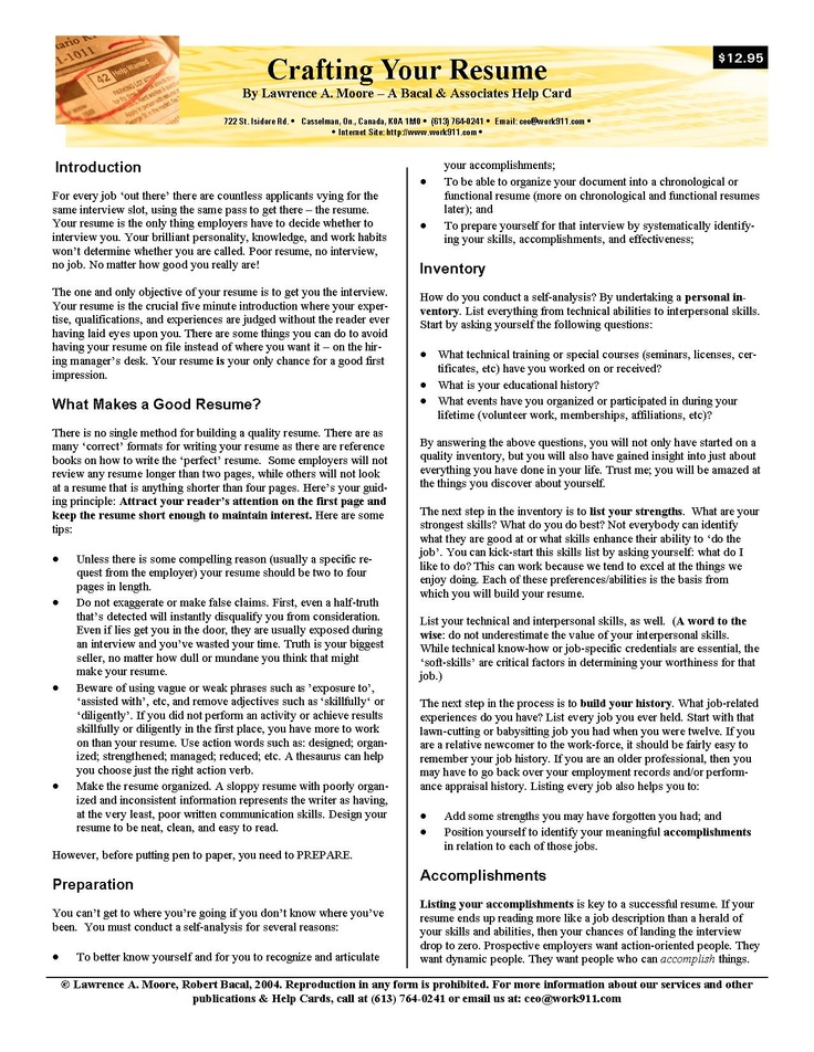 Crafting Your Resume - Tips, Hints, Advice on Resume Writing In A Nutshell