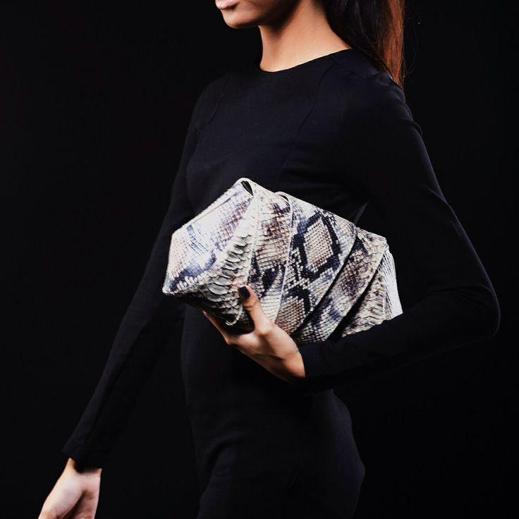 SOKA roccia italian cow leather embossed python clutch bag