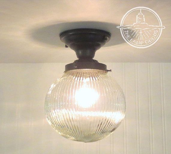 Beautiful Holophane Globe CEILING LIGHT With Semi Flush Mount Modern