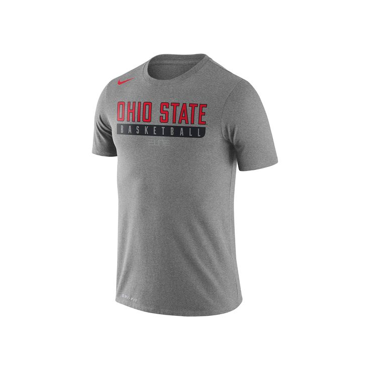 Men's Nike Ohio State Buckeyes Basketball Practice Dri-FIT Tee, Size: Medium, Dark Grey