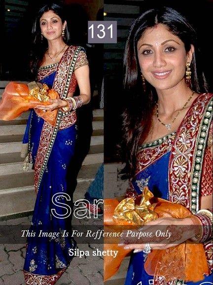 Shilpa Shetty Chiffon Blue Bollywood Style Saree at Rs 2310