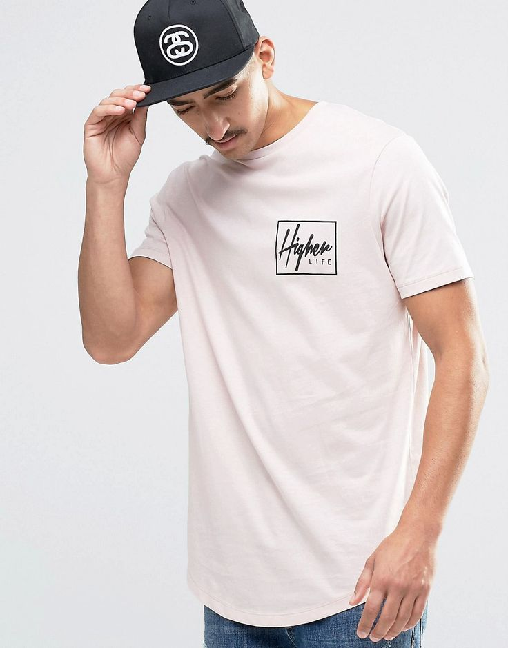 Image 2 ofASOS Super Longline T-Shirt With Skater Chest And Back Print And Curved Hem