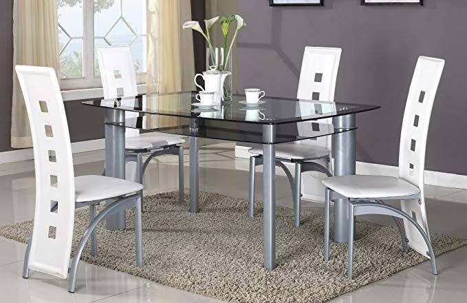 GTU Furniture 5Pc Glass Dining Room Table Set, 1 Table and 4 Chairs