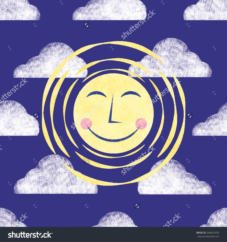 Moon and Clouds Illustration Seamless Vector Pattern