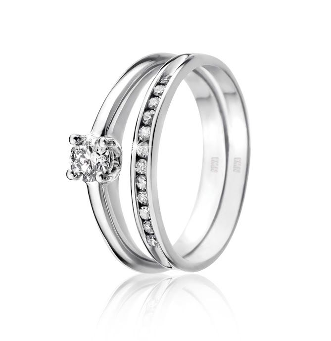9ct Gold 0.25ct Diamond Solitaire Ring R5,499 (Left) and 9ct Gold Diamond Channel Band R1,398 (Right)  *Prices Valid Until 25 Dec 2013