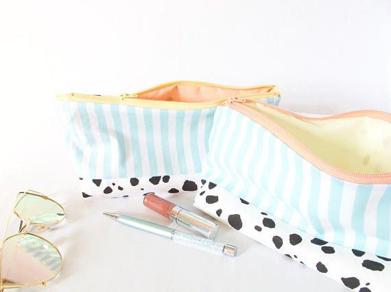 DALMATION & STRIPES Pouch. Cute Dalmation Bag. Makeup Travel