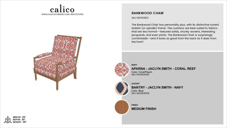 Bankwood Chair in Aparna - Jaclyn Smith - Coral Reef with an accent of Bantry - Jaclyn Smith - Navy in Medium Finish