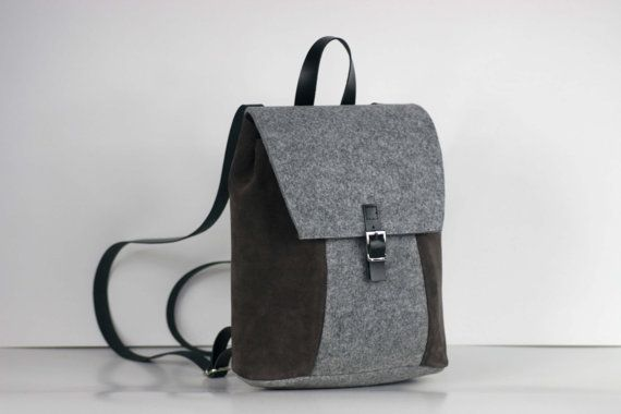 GENUINE LEATHER RUCKSACK, felt bag, backpack, full grain leather