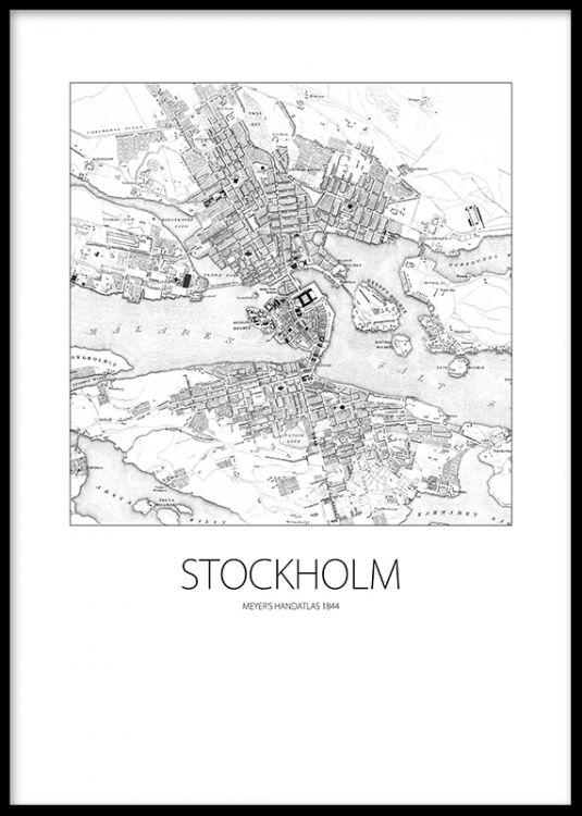 Affisch med vintage karta över Stockholm. Poster / print med gammal karta från 1844. Hos desenio.se finns massor av snygga svartvita tavlor och planscher med vintage stil.