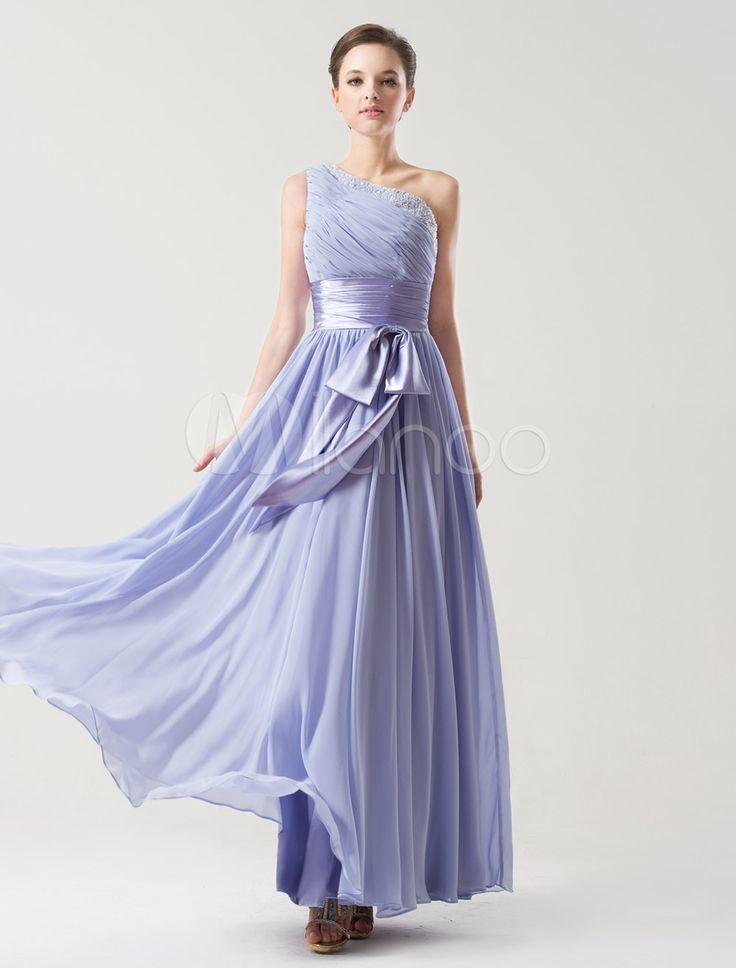 Vestido de damas de honor de chifón de color lavanda de un solo hombro