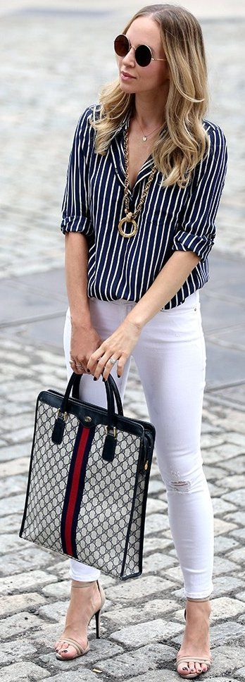 #fall #trending #outfits | Striped Shirt + White Jeans