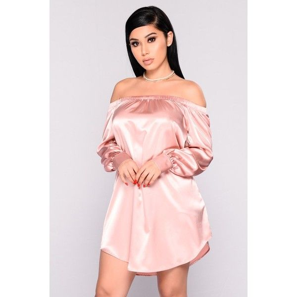Say Hello Satin Dress Dusty Pink ($20) ❤ liked on Polyvore featuring dresses, longsleeve dress, pink long sleeve dress, dusty pink dress, round hem dress and pink off shoulder dress