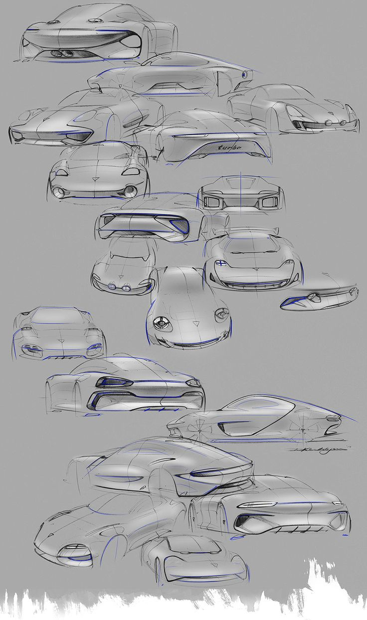 Porsche 911 Turbo Hybrid Concept Design Sketches by David Khachatryan