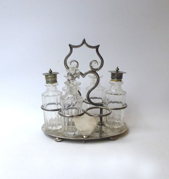 Antique late Victorian silver plate and crystal cruet condiment set, vintage cruet set, crystal glass
