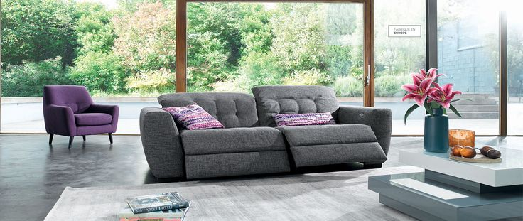 Canapé relaxation 3 places en tissu ALBA. 2 assises relaxation electriques - Cuir Center - Cuir Center