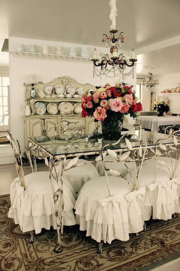 Beautiful Shabby Chic Ruffled Slipcovers.