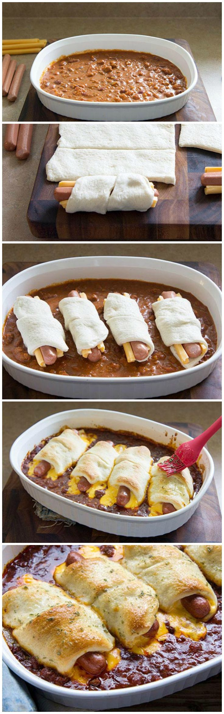 Chili Cheese Dog Bake- I would use a larger dish than shown. These need more space around them to cook the dough completely.