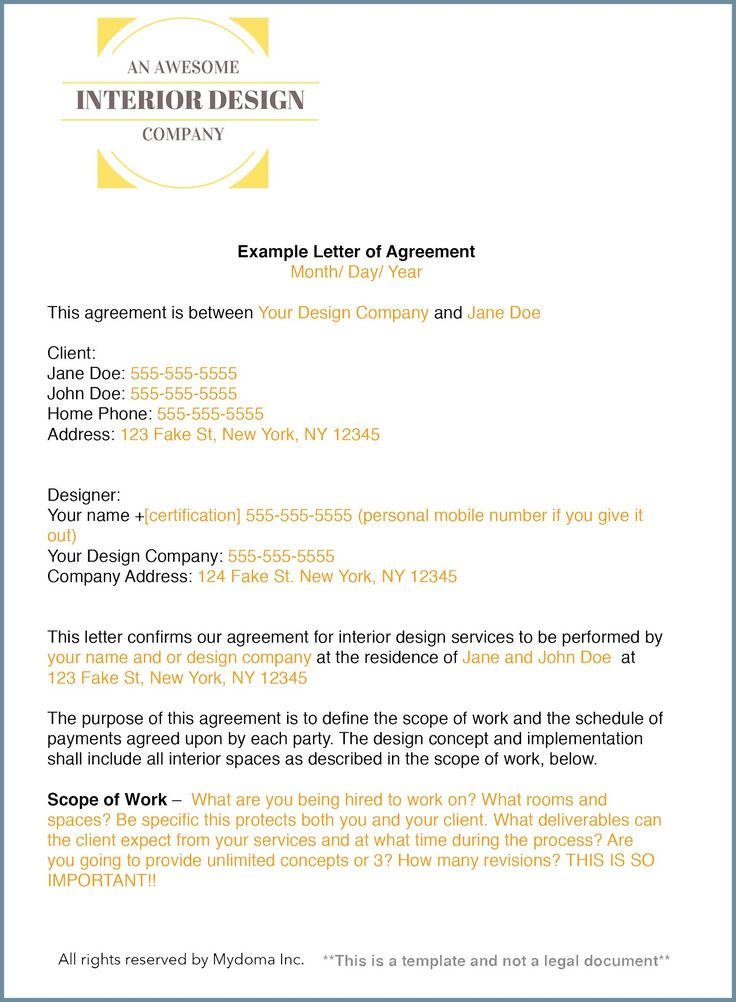 how to write an interior design letter of agreement or interior design contract - Interior Designer Resume Sample