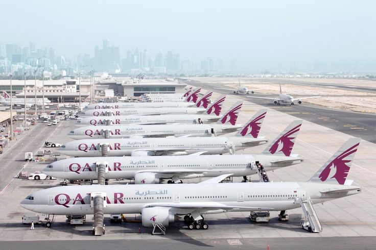 A great aerial shot of our Boeing 777s at Doha International Airport.