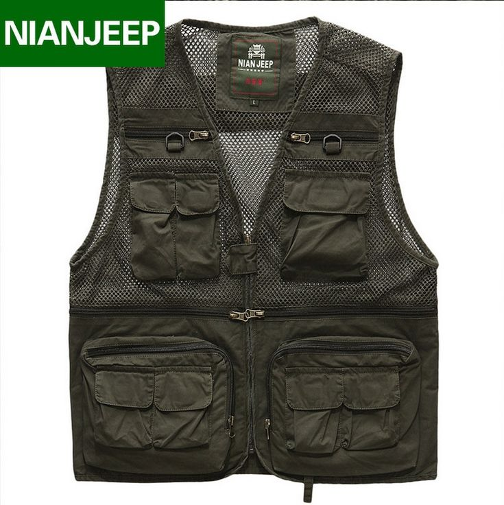 NIANJEEP Brand Men Multi Pocket Vest Outdoors Travels Mesh Vest Tops High Quality Quick Dry Photographer vests Jacket