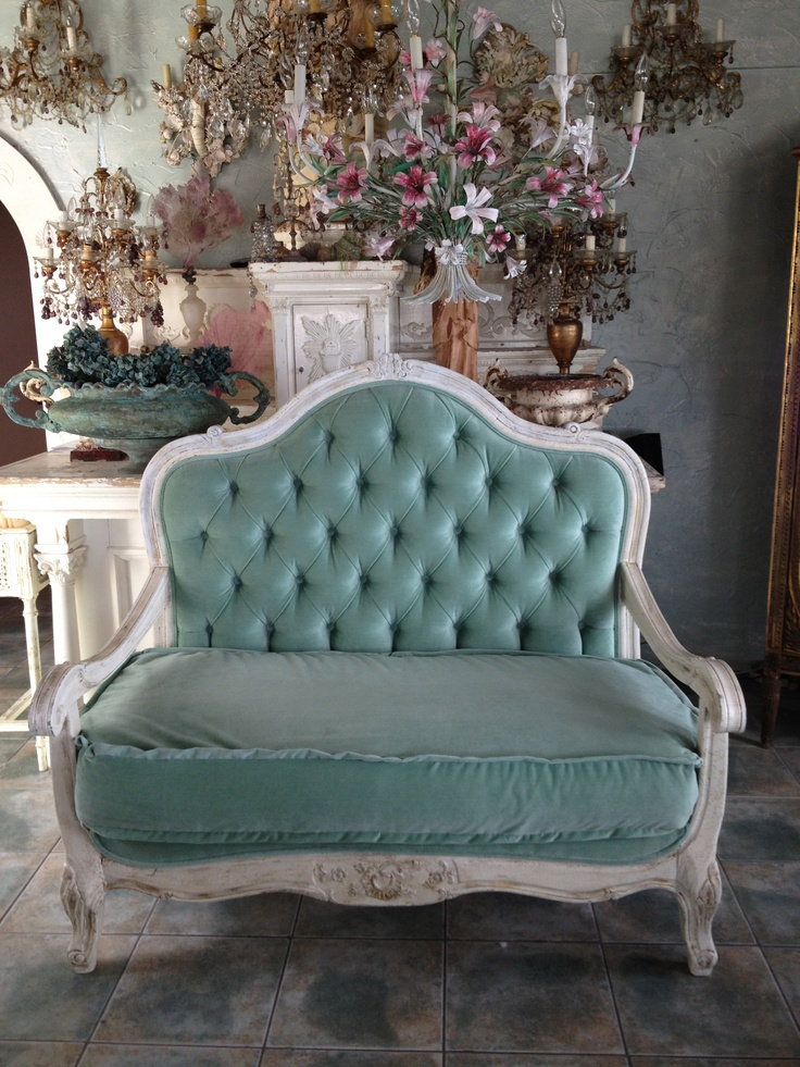 Aqua Velvet Antique Country Sofa