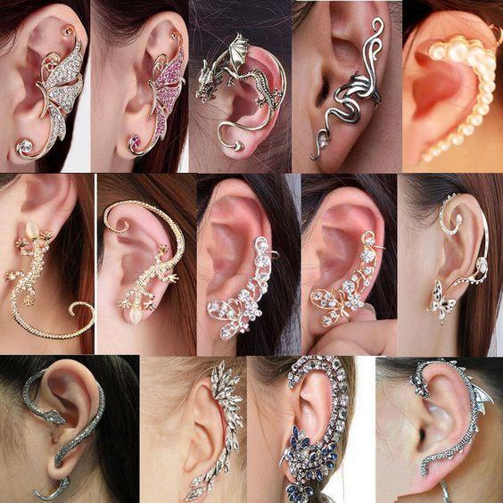 Fashion Crystal Clip Ear Cuff Stud Women/'s Punk Wrap Cartilage Earring Jewelry