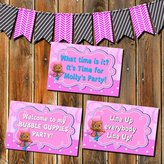 3 Bubble Guppies Printable Party Signs What by MyPrintableParty