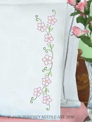 Floral Spray Perle Edge Pillowcases - Embroidery Kit