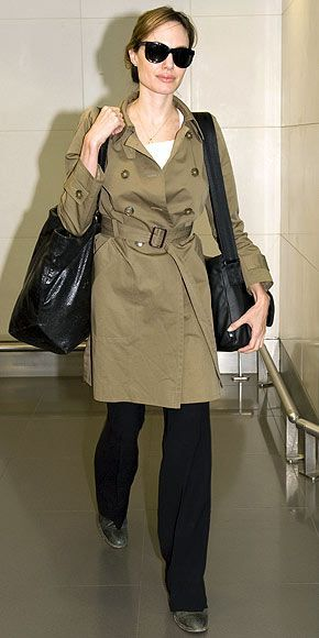 Who made Angelina Jolie's trench coat that she wore in Heathrow airport? Jacket – Gerard Darel