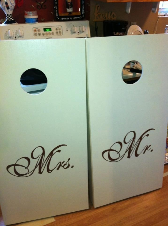 Customized Corn Hole Boards for the wedding!  www.etsy.com/clayspears