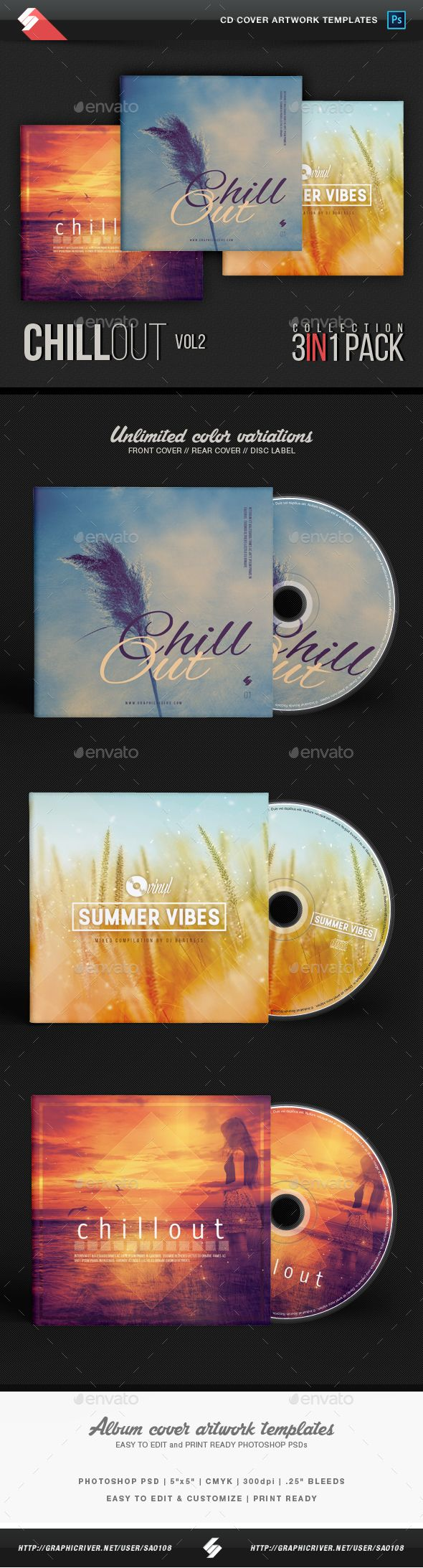 Chillout Trilogy vol.2 - CD Cover Templates Bundle PSD. Download here: https://graphicriver.net/item/chillout-trilogy-vol2-cd-cover-templates-bundle/17324801?ref=ksioks