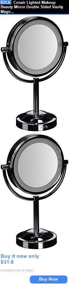 Makeup Mirrors: Conair Lighted Makeup Beauty Mirror Double Sided Vanity Magnifying Chrome Stand BUY IT NOW ONLY: $31.6