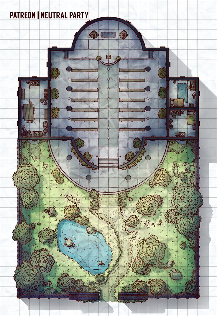 [OC][Art] Garden Temple Battlemap : DnD
