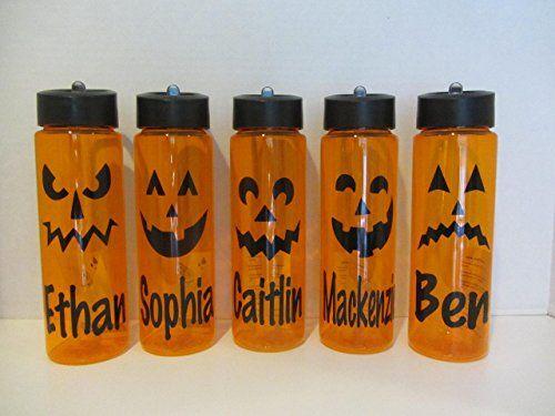 Personalized Halloween 24 ounce BPA free water bottle- jack-o-lantern pumpkin designs.