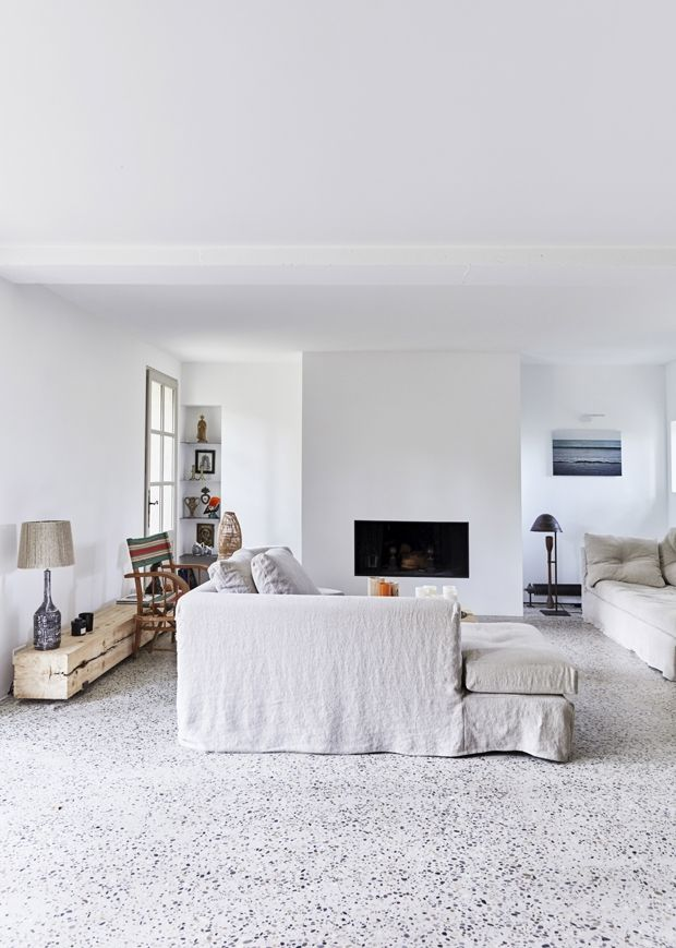 White living room in a French country home