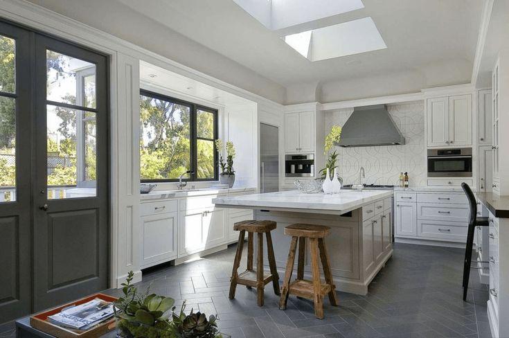 Kitchen Flooring Trends with Grey herringbone chevron