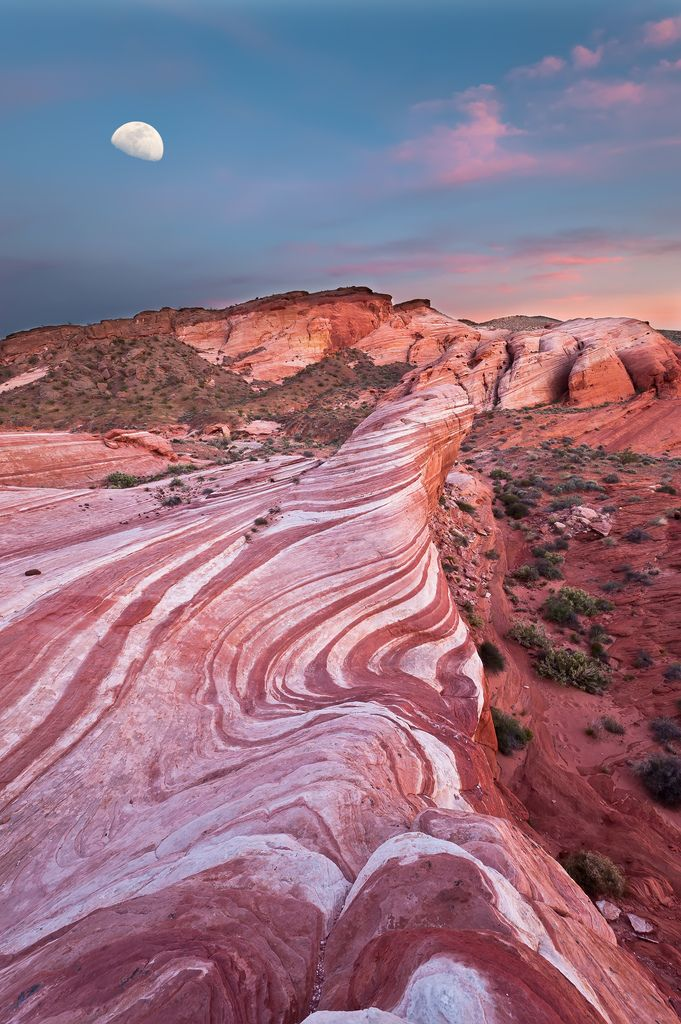 The Valley of Fire certainly looks cooler during moonrise! | The moon casts a lovely light making most things lovelier |