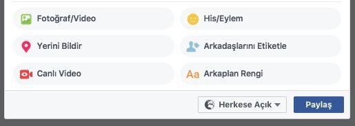 """Facebook'un bir süredir Android kullanıcılarına açmış olduğu renkli arka planlar kullanarak paylaşım yapma özelliği bugün itibariyle webdende kullanılabiliyor.  Paylaşım alanının altında bulunan """"His/Eylem"""" seçeneğinin yanında bulunan üç nokta ikonuna tıkladığınız zaman açılan pencerede...   http://havari.co/facebookun-renkli-paylasimlar-ozelligi-artik-webde/"""