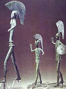 Etruscan bronze statuettes of spear-throwers C.400B.C