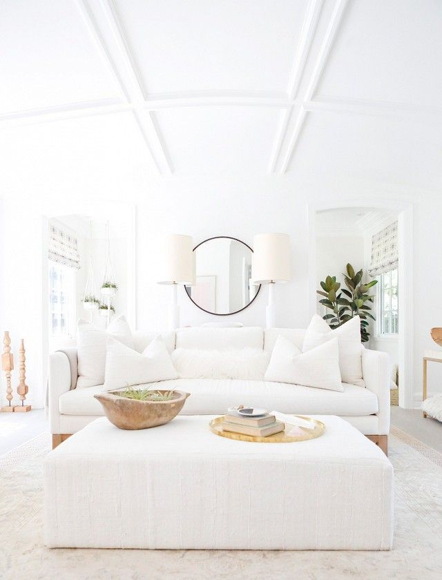 Erin Fetherstonu0027s All White Living Room With A White Sofa, Wood Accents, And