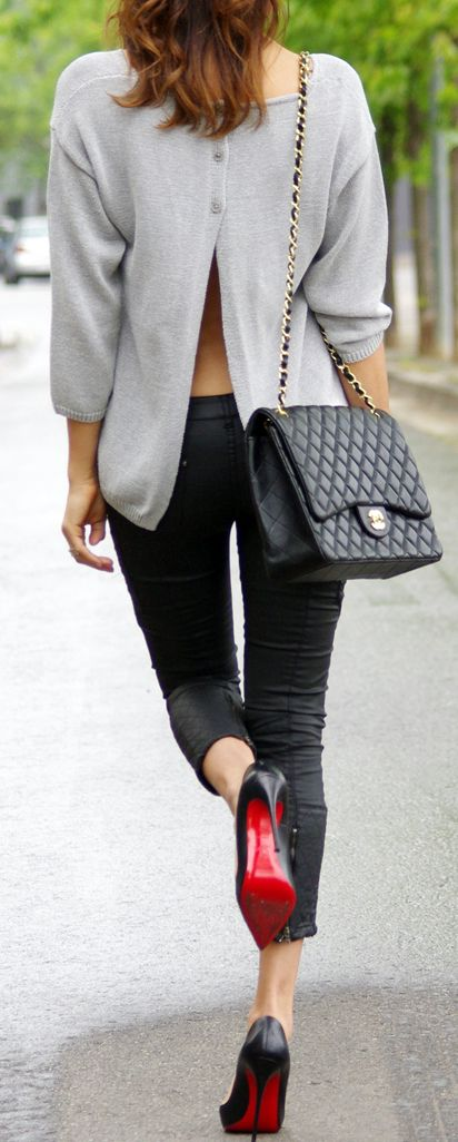 Styled right: Chanel, Slit grey sweater and Louboutins.