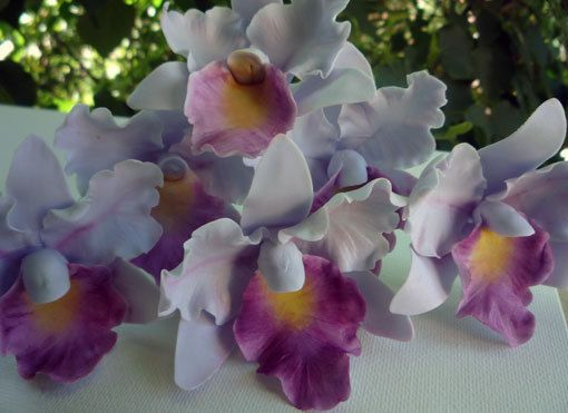 Light purple gum paste cattleya orchids reserved for
