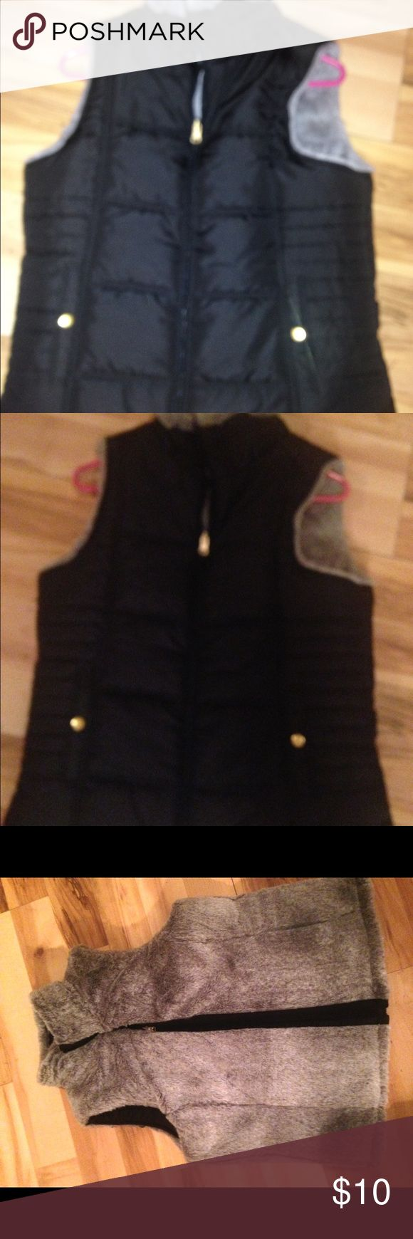 Women's vest puffy vest puffer vest Brand new purchased from goodies paid $80- reversible (shown in photos) can wear it on either side. Fits small and medium best! Pair it with some cute boots and you are good to go ;) Jackets & Coats Puffers
